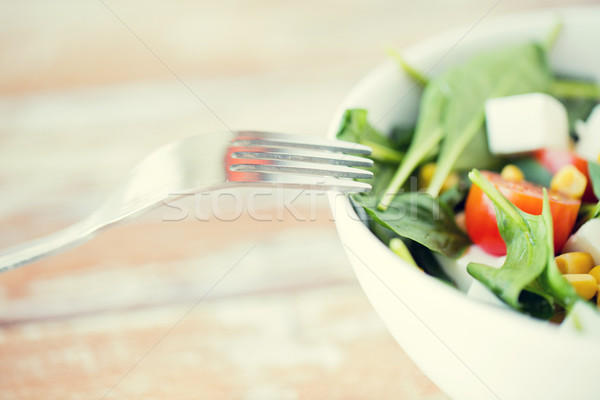 close up of vegetable salad bowl Stock photo © dolgachov