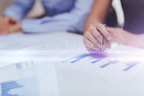close up of chats and graphs in office Stock photo © dolgachov