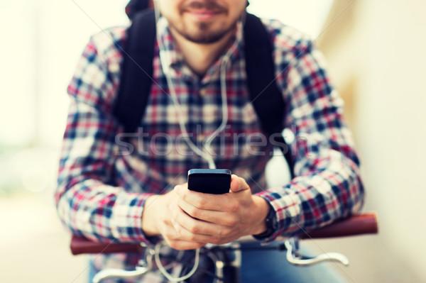 человека смартфон велосипедов люди Сток-фото © dolgachov