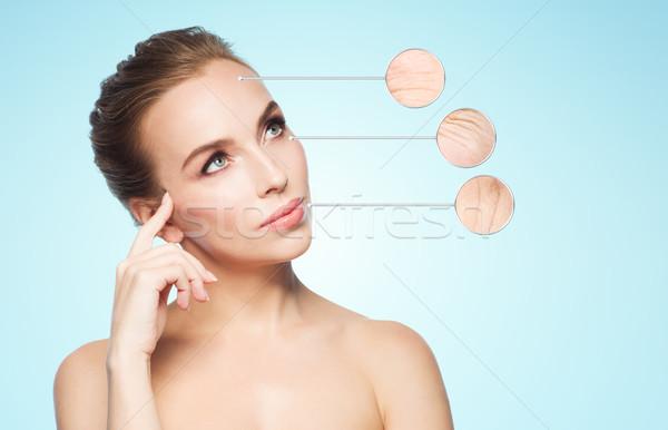 Mooie jonge vrouw aanraken gezicht schoonheid mensen Stockfoto © dolgachov