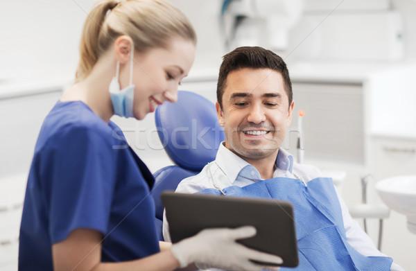 Foto stock: Feminino · dentista · masculino · paciente · pessoas