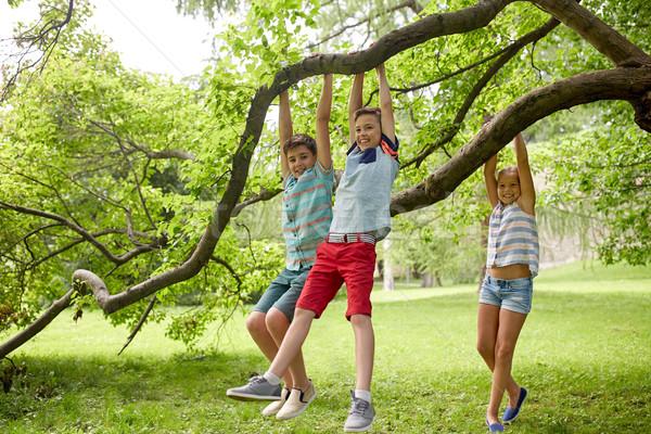 happy kids hanging on tree in summer park Stock photo © dolgachov