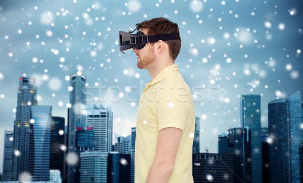Człowiek faktyczny rzeczywistość zestawu okulary 3d technologii Zdjęcia stock © dolgachov