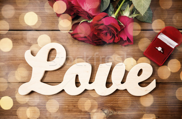 ダイヤモンドリング 赤いバラ 言葉 愛 提案 ストックフォト © dolgachov