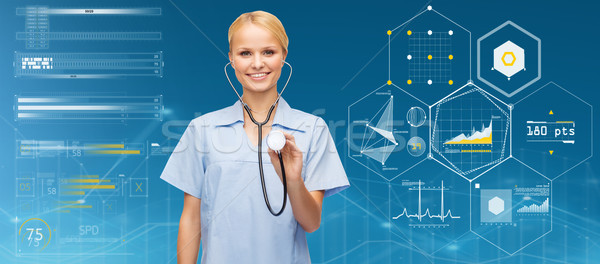 smiling female doctor or nurse with stethoscope Stock photo © dolgachov