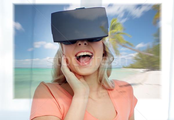 Mulher virtual realidade fone praia tecnologia Foto stock © dolgachov