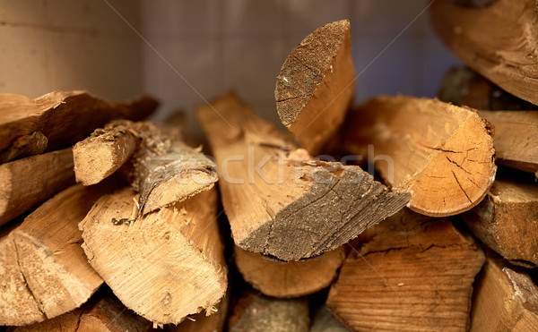 Közelkép tűzifa tűzhely fűtés fa üzemanyag Stock fotó © dolgachov