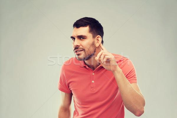 Man probleem luisteren iets gebaar mensen Stockfoto © dolgachov