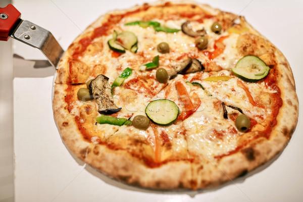 Pizza pizzacı fast-food İtalyan mutfağı Stok fotoğraf © dolgachov