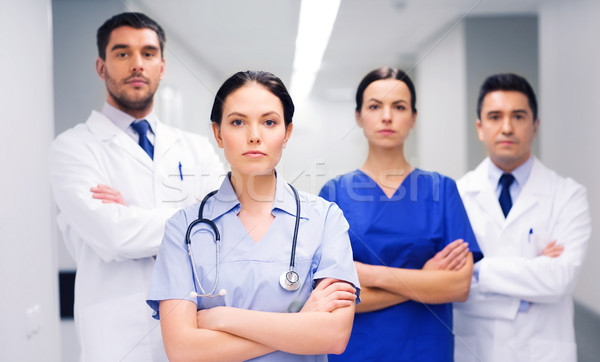 group of medics or doctors at hospital Stock photo © dolgachov