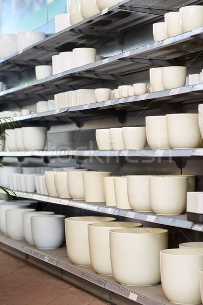 flower pots on shelves at garden shop Stock photo © dolgachov