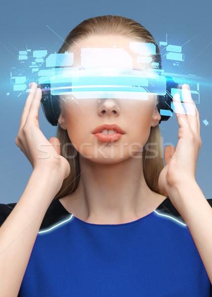 Kadın sanal gerçeklik 3d gözlük bilim teknoloji Stok fotoğraf © dolgachov