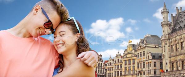 Feliz Pareja Bruselas ciudad Foto stock © dolgachov