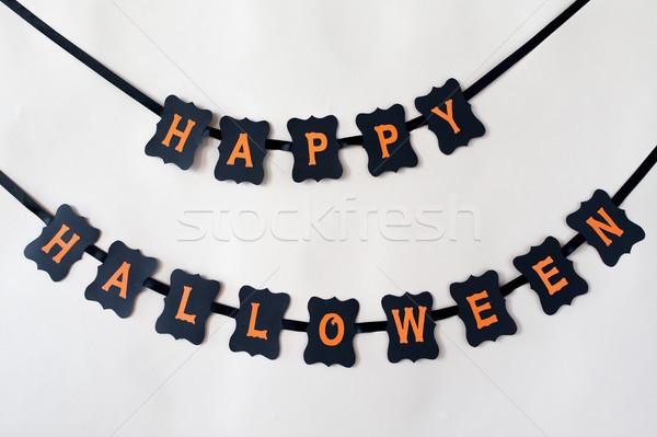Feliz halloween festa preto papel grinalda Foto stock © dolgachov