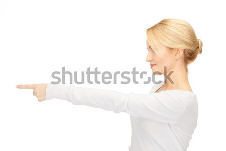 Femme d'affaires pointant doigt photos séduisant affaires Photo stock © dolgachov