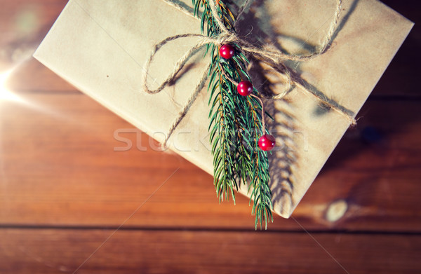 close up of christmas gift box with fir brunch Stock photo © dolgachov