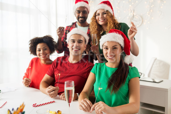 Boldog csapat ünnepel karácsony iroda buli Stock fotó © dolgachov