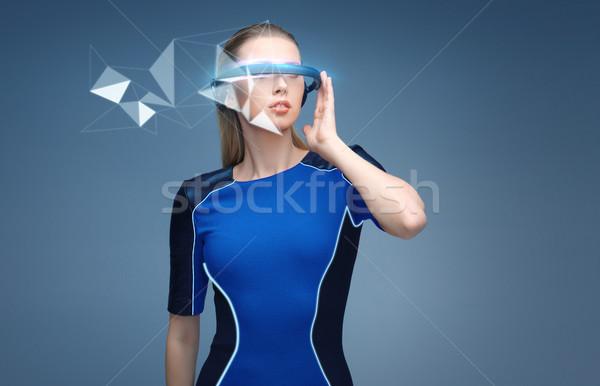 Kadın sanal gerçeklik 3d gözlük hologram bilim Stok fotoğraf © dolgachov