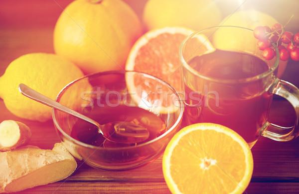 Сток-фото: чай · меда · лимона · имбирь · древесины · здоровья