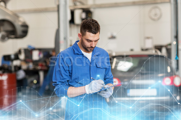 Automechaniker Mann Zwischenablage Auto Workshop Service Stock foto © dolgachov