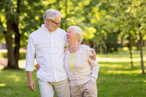 Boldog idős pár ölel nyár park aggkor Stock fotó © dolgachov