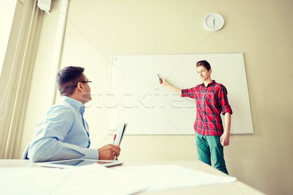 Diák fiú iskola fehér tábla tanár oktatás Stock fotó © dolgachov