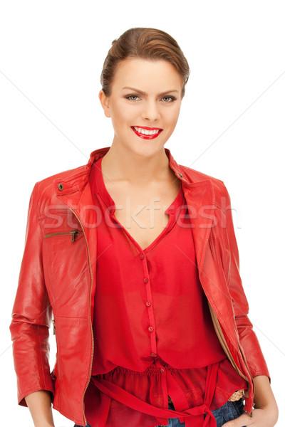 Mujer rojo chaqueta de cuero brillante Foto feliz Foto stock © dolgachov
