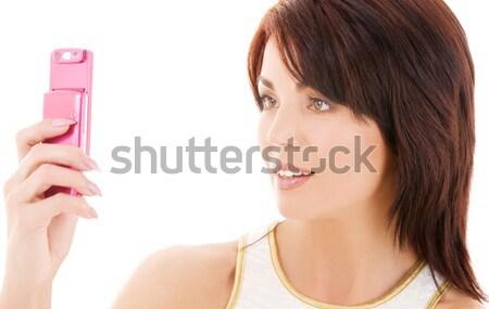 Brunette Blauw beha foto vrouw meisje Stockfoto © dolgachov