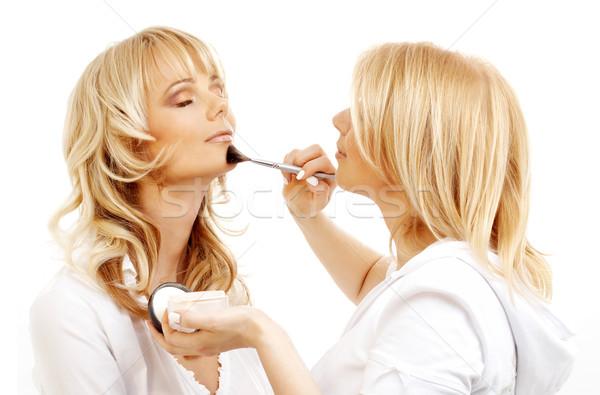 Profi sminkmester munka szőke smink stúdió Stock fotó © dolgachov