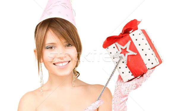 Adolescent fête fille coffret cadeau heureux Photo stock © dolgachov