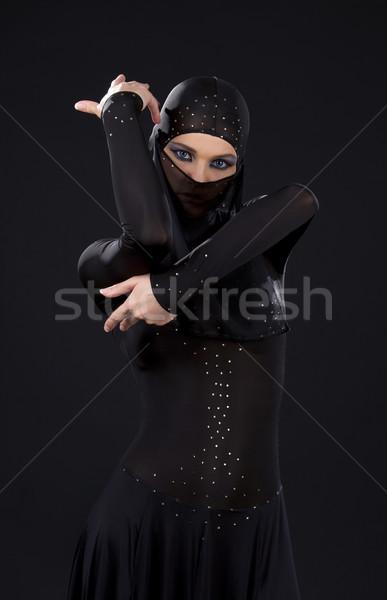 Nindzsa kép nő sötét lány fekete Stock fotó © dolgachov
