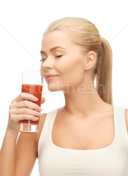 若い女性 飲料 トマトジュース 女性 ボディ ストックフォト © dolgachov