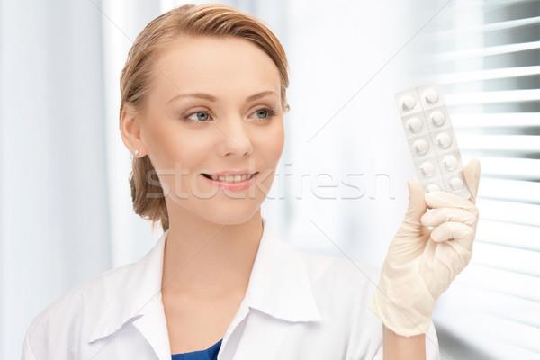 Medico pillole foto felice medici Foto d'archivio © dolgachov
