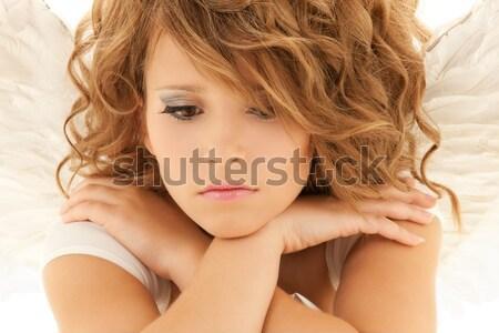 Vrouw lang krulhaar portret mooie vrouw gezicht Stockfoto © dolgachov