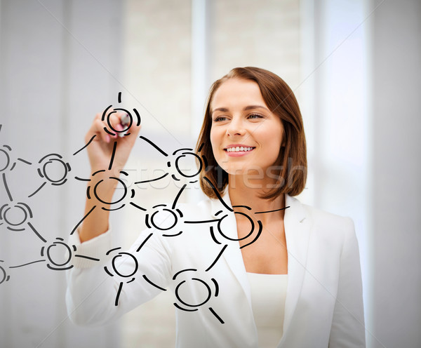 businesswoman drawing network contacts Stock photo © dolgachov