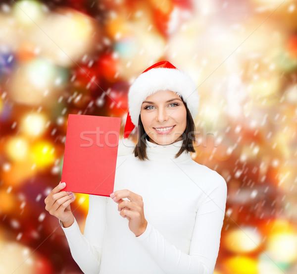女性 サンタクロース ヘルパー 帽子 赤 カード ストックフォト © dolgachov