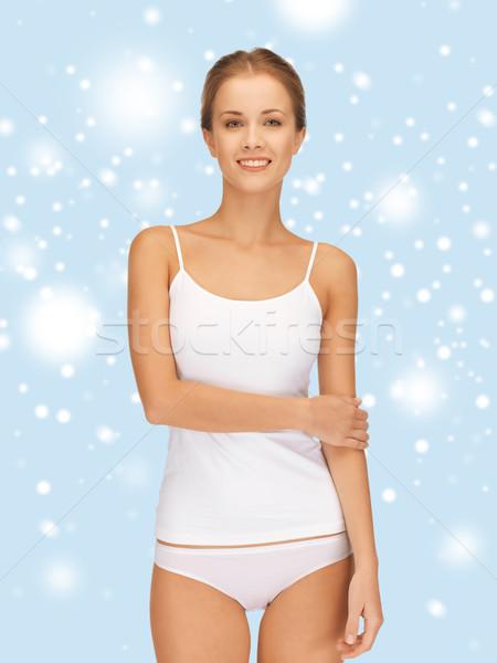 Güzel bir kadın pamuk sağlık mutluluk beyaz Stok fotoğraf © dolgachov