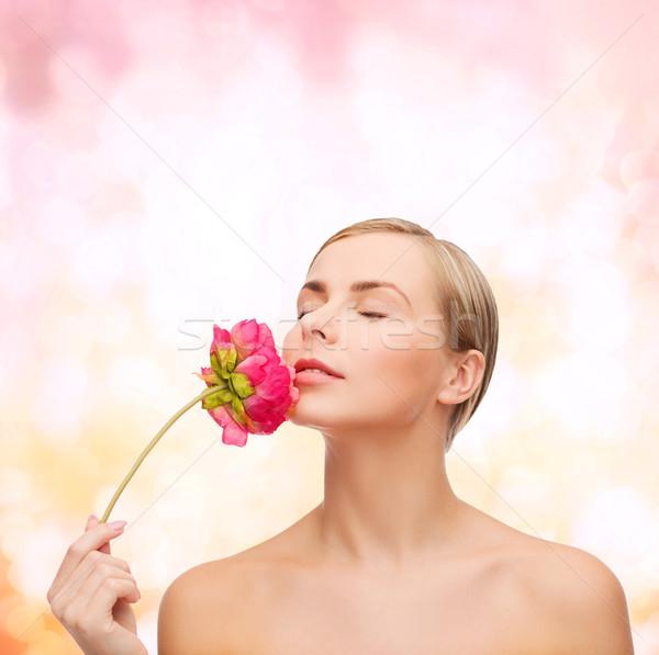 Stock fotó: Nő · virág · egészség · szépség · rózsaszín · csukott · szemmel