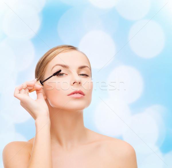 Bella donna mascara cosmetici salute bellezza faccia Foto d'archivio © dolgachov