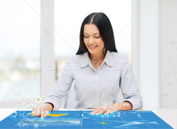 笑顔の女性 ポインティング 虚数 ビジネス 教育 ストックフォト © dolgachov
