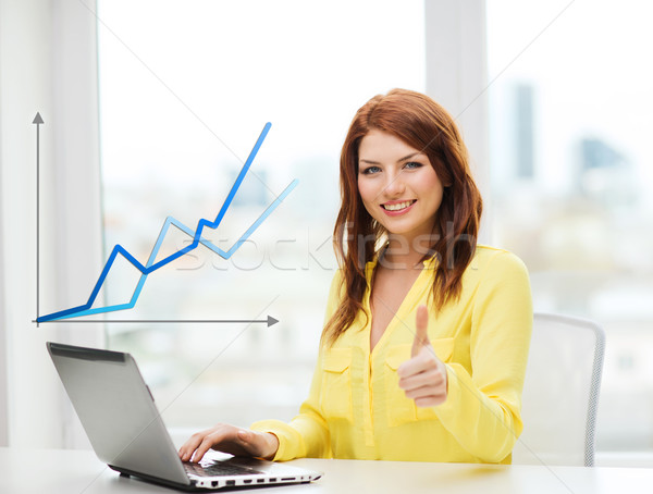 smiling student with laptop computer at school Stock photo © dolgachov