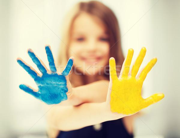 девушки окрашенный рук образование школы Сток-фото © dolgachov
