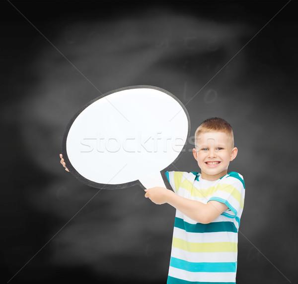 Sorridere piccolo ragazzo testo bolla scuola Foto d'archivio © dolgachov