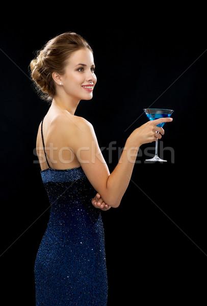 Zdjęcia stock: Uśmiechnięta · kobieta · cocktail · party · napojów · wakacje · luksusowe