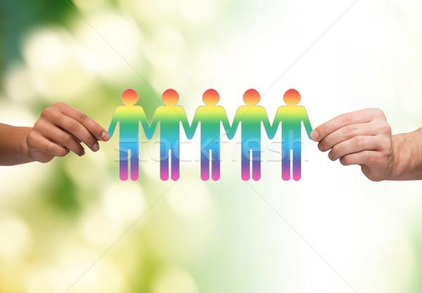 Stockfoto: Handen · papier · keten · homo