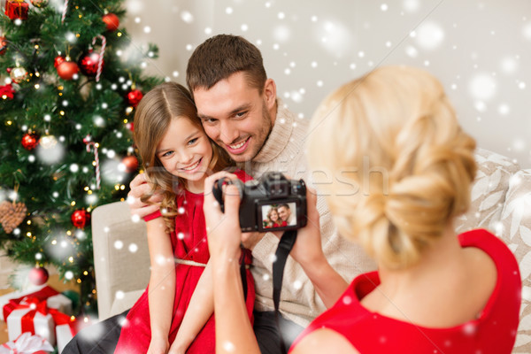 happy family with digital camera taking photo Stock photo © dolgachov