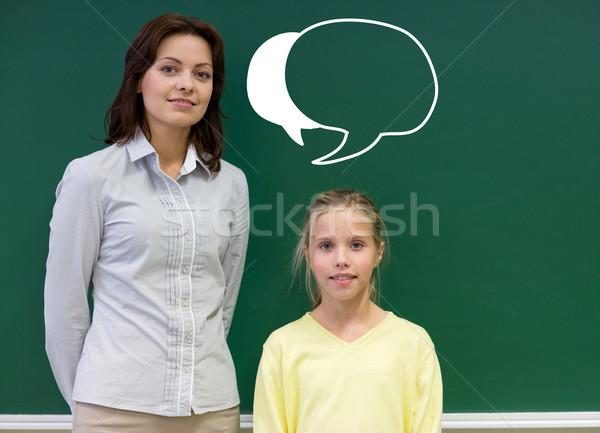 Mały uczennica nauczyciel tablicy edukacji szkoła podstawowa Zdjęcia stock © dolgachov