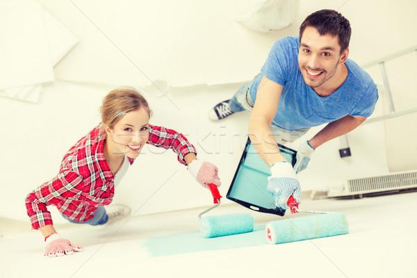 Foto stock: Sorridente · casal · pintura · parede · casa · reparar