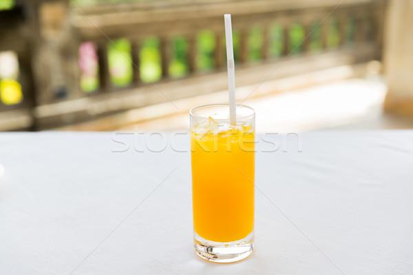 Glas frischen orange Früchte Saft Restaurant Getränke Stock foto © dolgachov