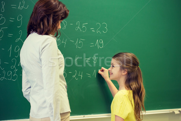 little smiling schoolgirl writing on chalk board Stock photo © dolgachov